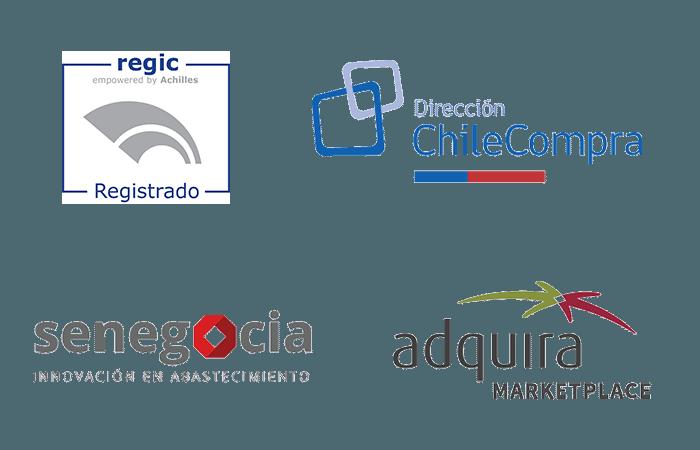 Somos proveedores registrados en Regic, Chile Compra (Mercado Público), Senegocia y Adquira Marketplace.