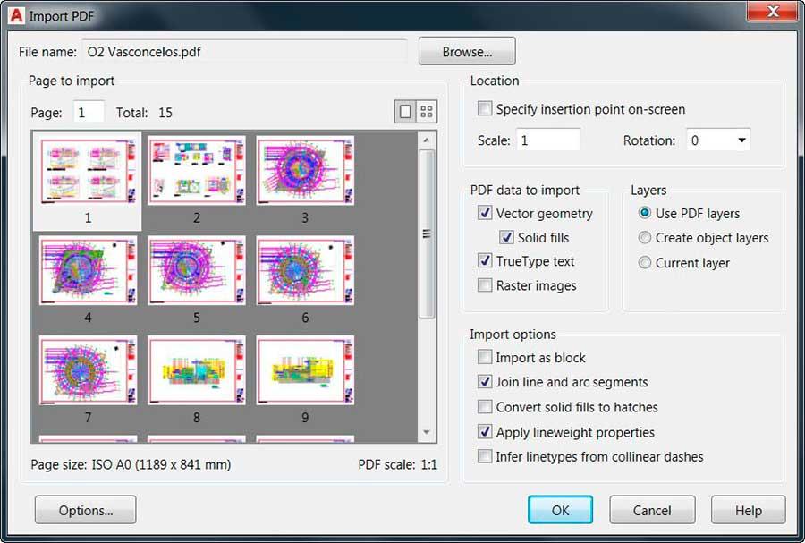 Importar PDFs en Autocad